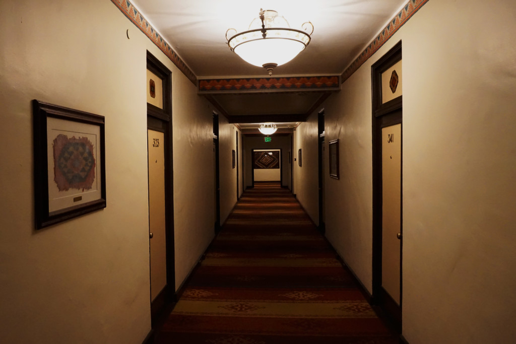 Looking down the hallways of the Awhanee Hotel's third floor where paranormal activity has been reported.
