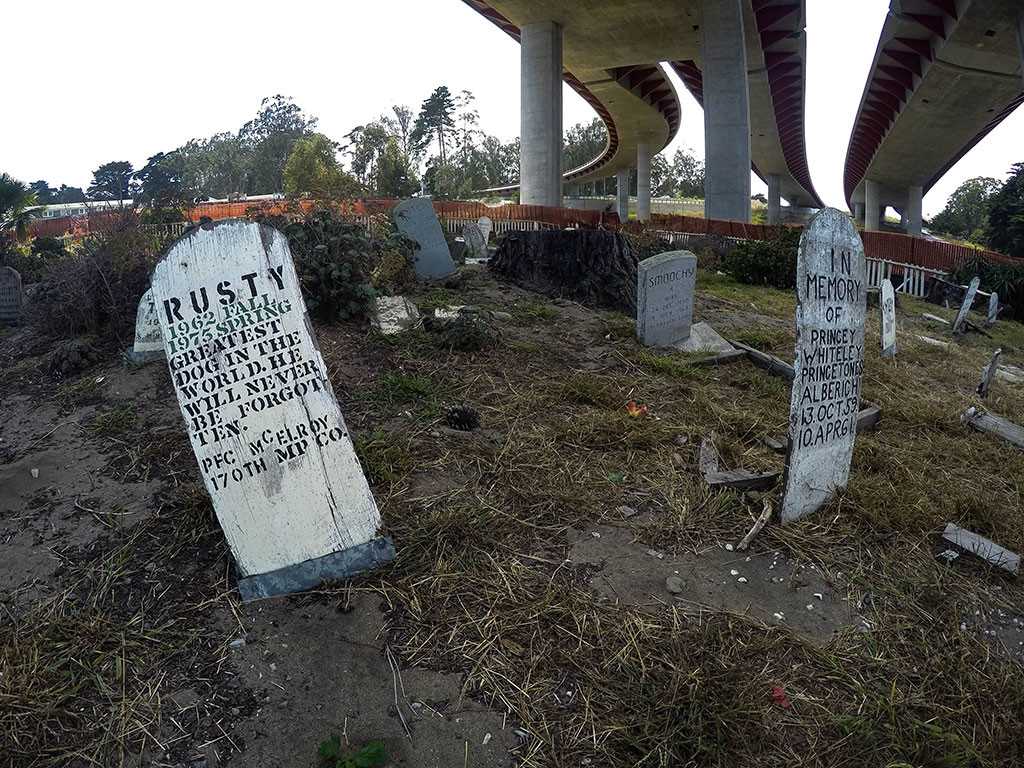 More tombstones within San Francisco's Pet Cemetery.