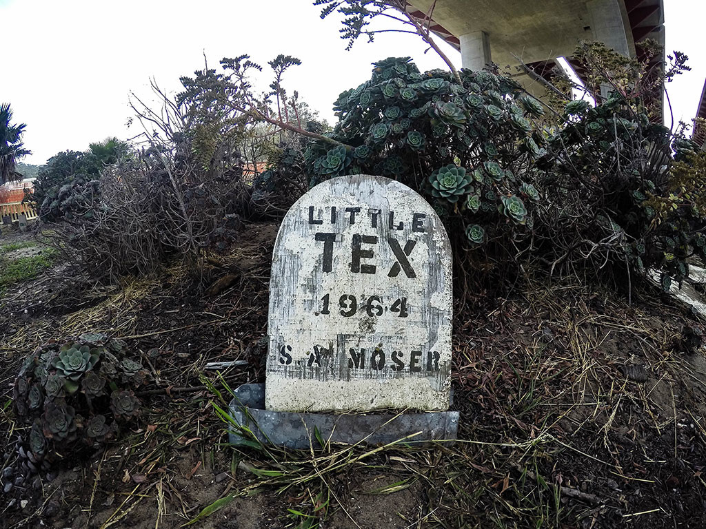 Little Tex's tombstone within San Francisco's Pet Cemetery.