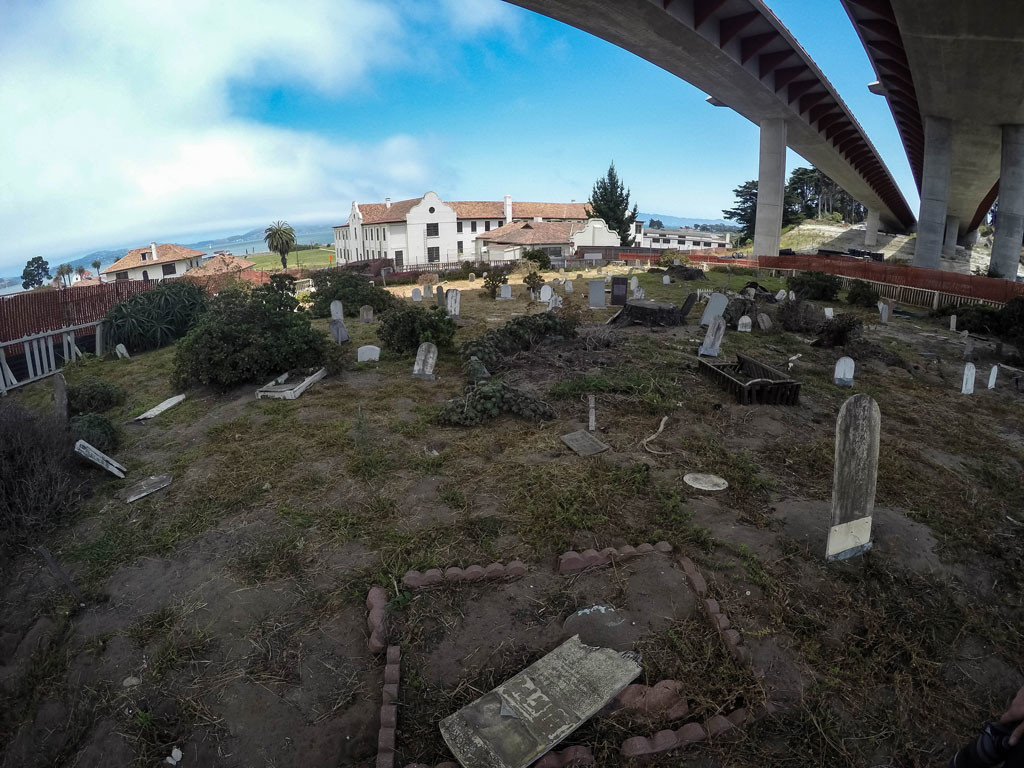 View from the top of San Francisco's Pet Cemetery looking over the Presidio.