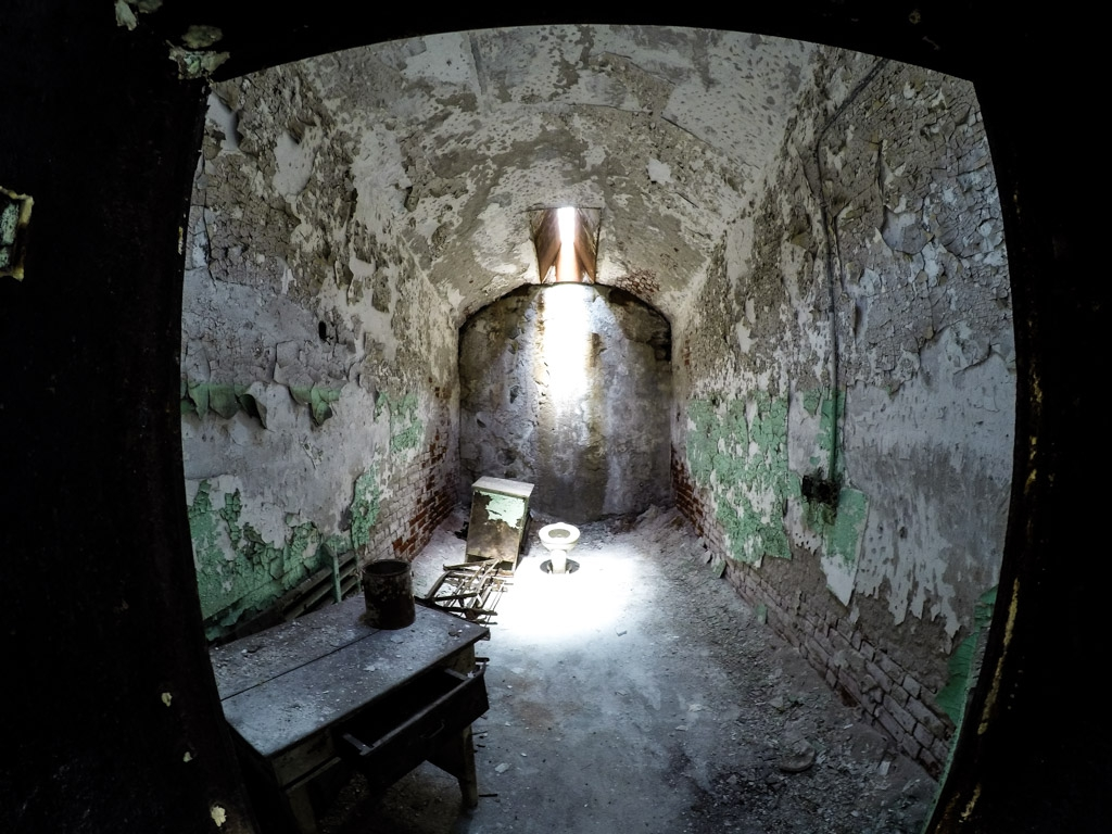 Inside a cell at Eastern State Penitentiary.