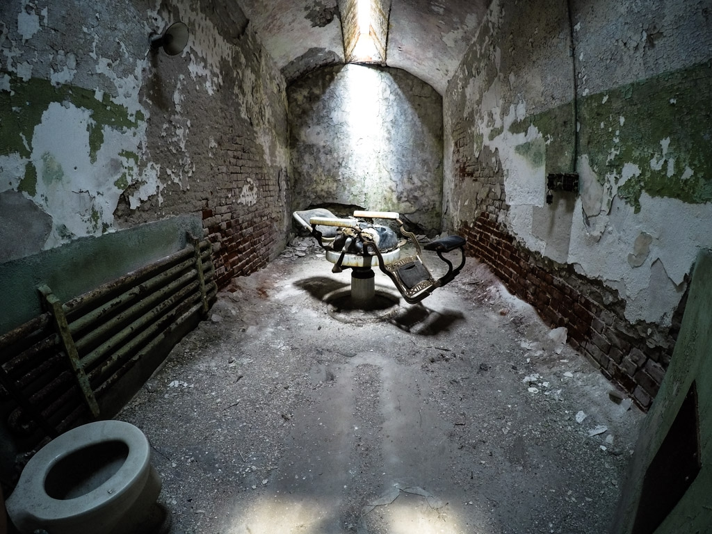 A barber's chair in Eastern State Penitentiary.