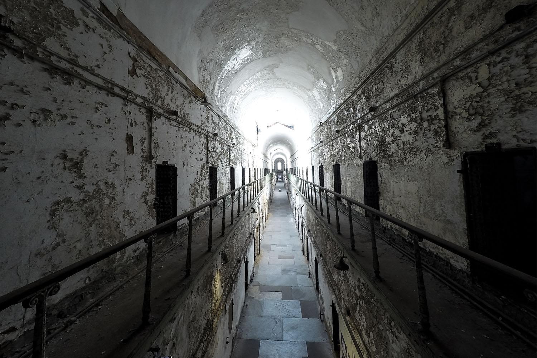 Eastern State Penitentiary haunted hallway.