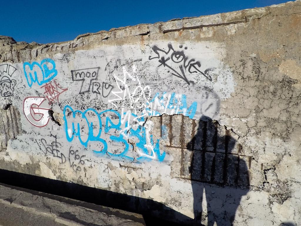 Graffiti covered ruins at Sutro Baths.