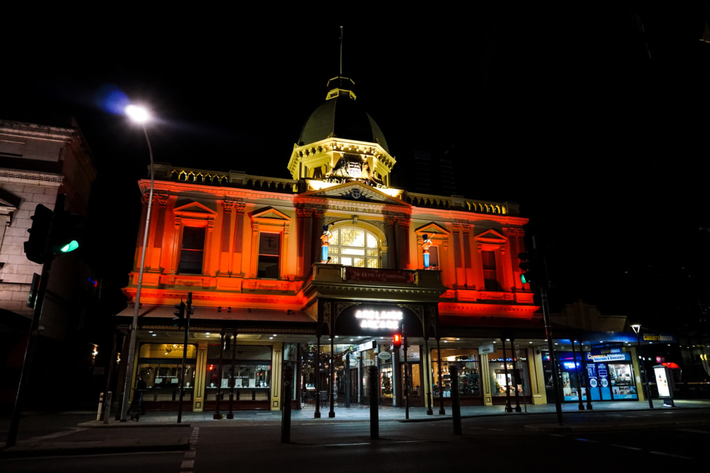 The Haunted Adelaide Arcade at night.