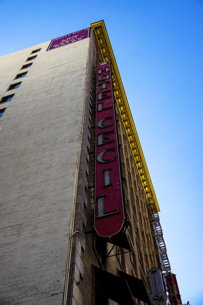 Cecil Hotel's neon sign.