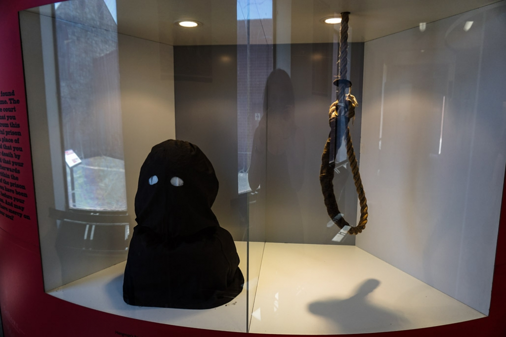 Hangman's mask and noose at the Old Adelaide Gaol.