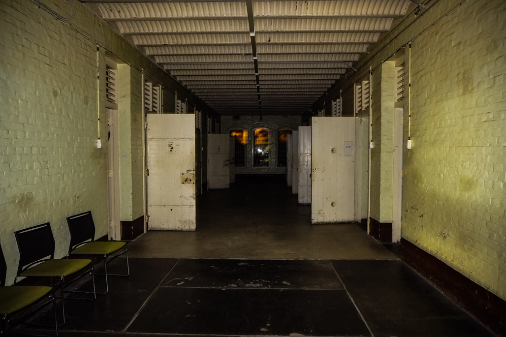 Inside haunted South Australian asylum at night.