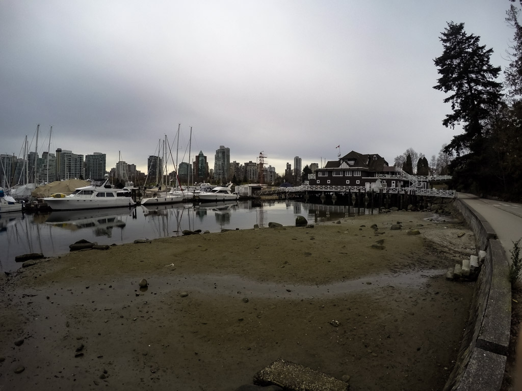 Beach near ghostly Vancouver Rowing Club.