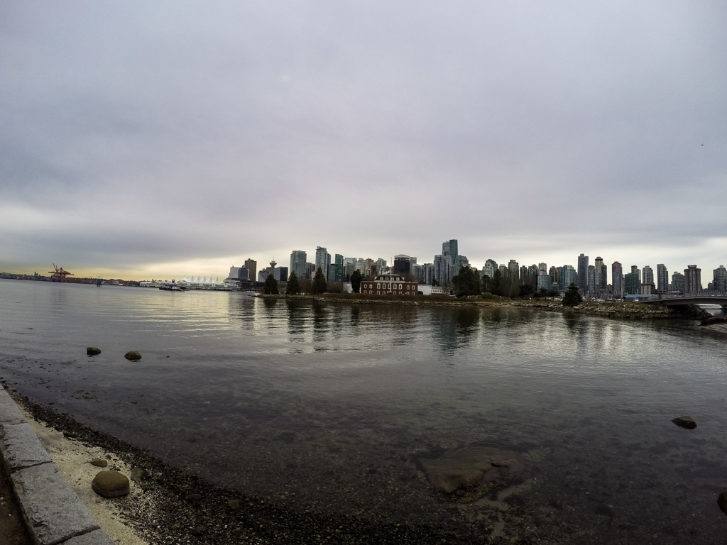 Deadman's Island with Vancouver skyline in the background.