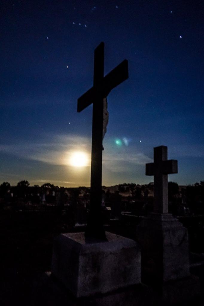 Full moon over Kapunda Cemetery.
