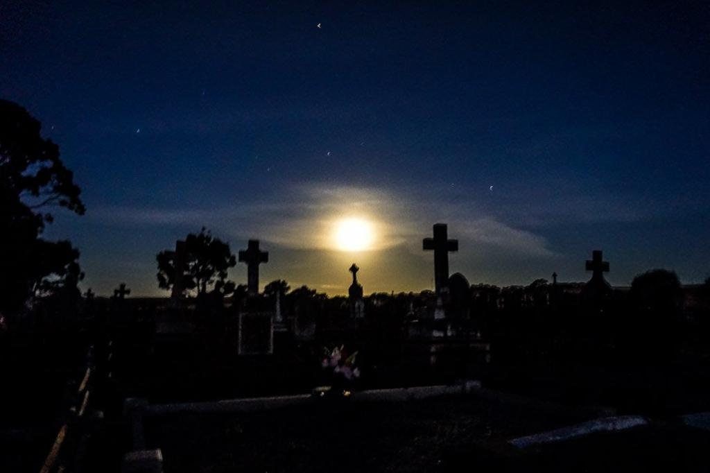 Moon over Kapunda's spooky St. Johns Cemetery.