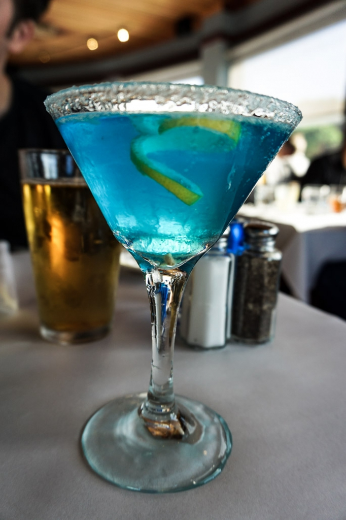 Blue Lady cocktail at Moss Beach Distillery.