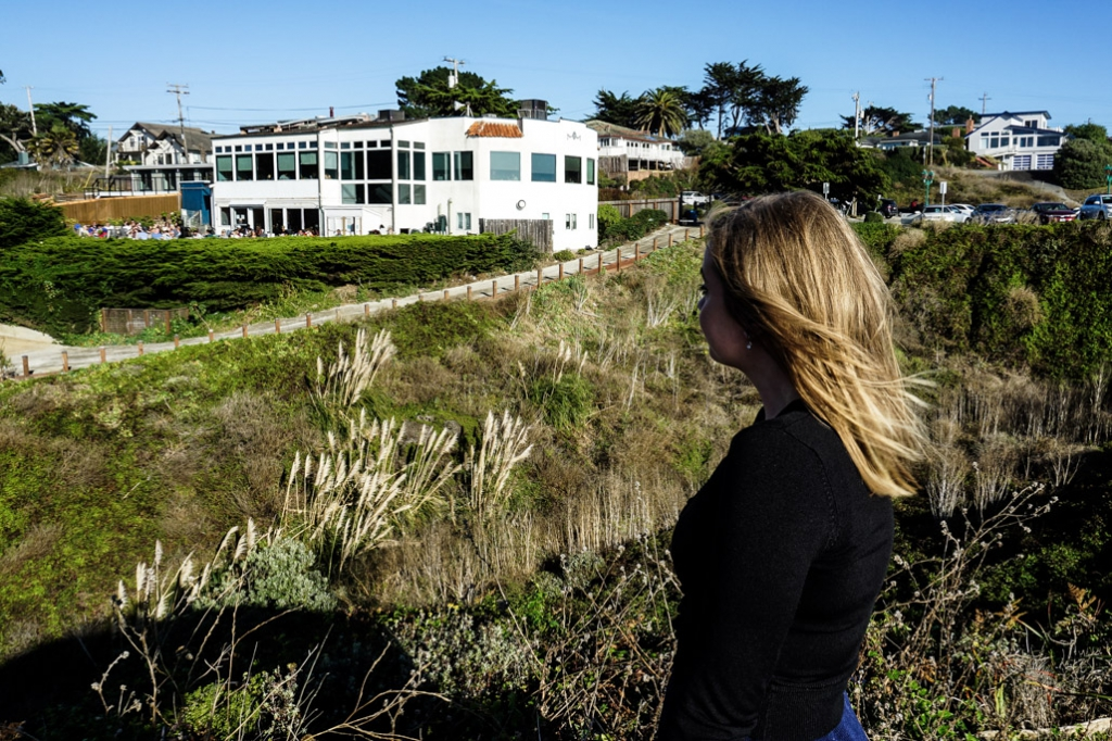View of the haunted Moss Beach Distillery from the bluff.