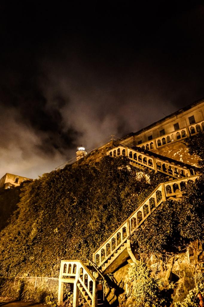 Stairway to Alcatraz island lighthouse.