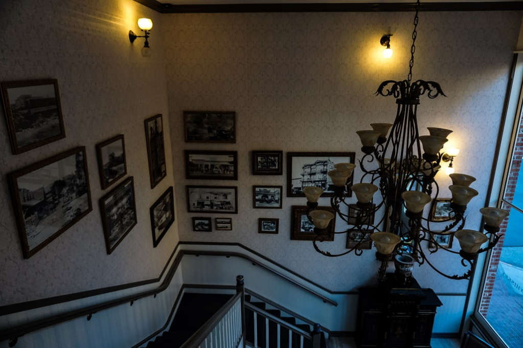 Stairs inside haunted Horton Grand Hotel, San Diego.
