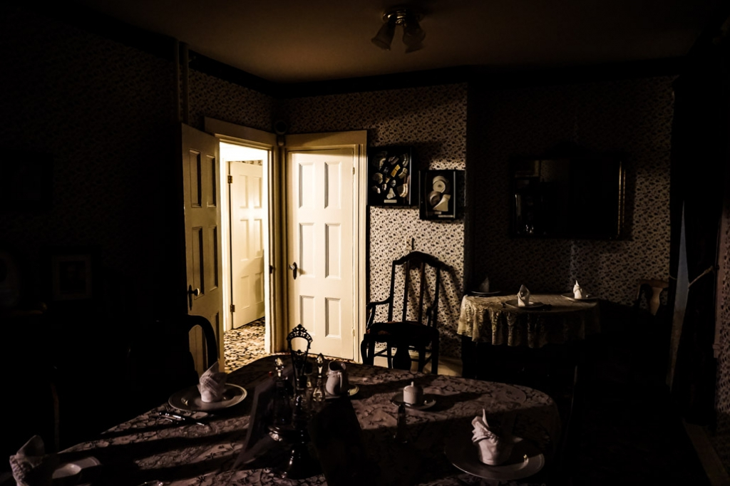 Dining room of Lizzie Borden house.