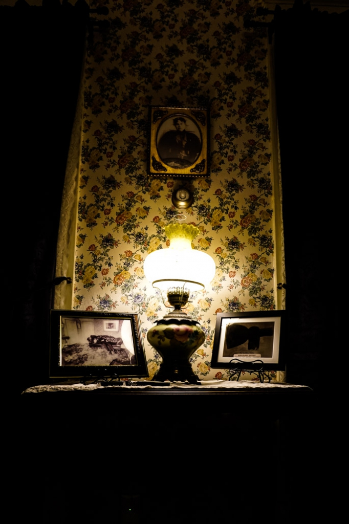 Photos on display in the Lizzie Borden House.