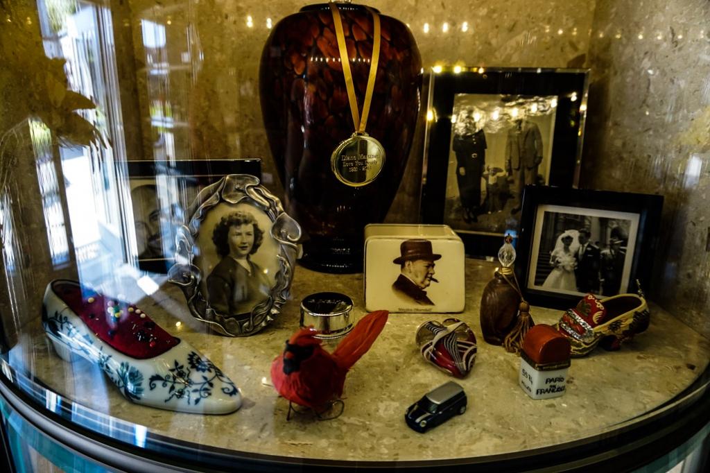 Urn and display inside Neptune Society Columbarium.