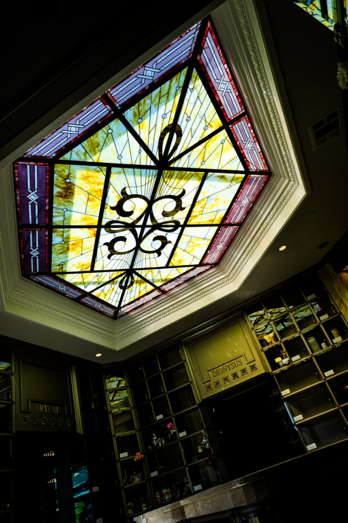 Lead light inside Neptune Society Columbarium.