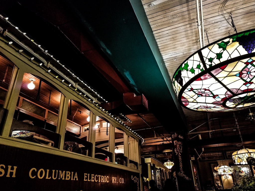 Inside the restaurant of the Old Spaghetti Factory.