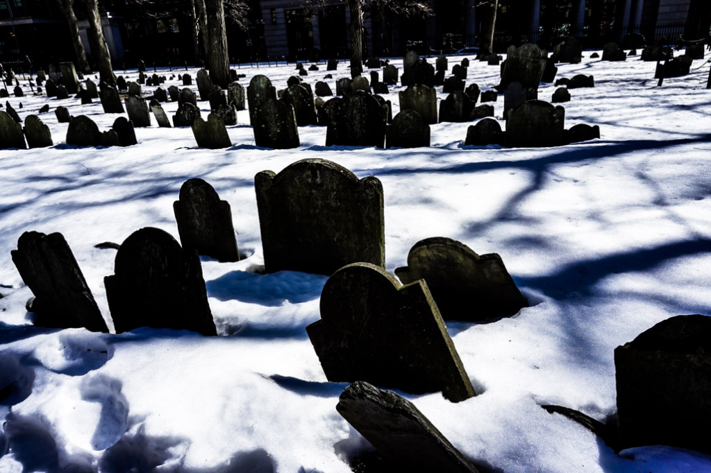 Graves of Boston's haunted Granary Burial Ground.