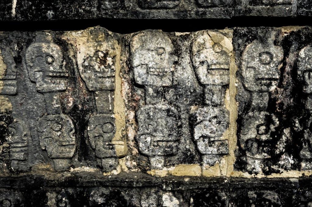 Skulls in Chichen Itza art work.