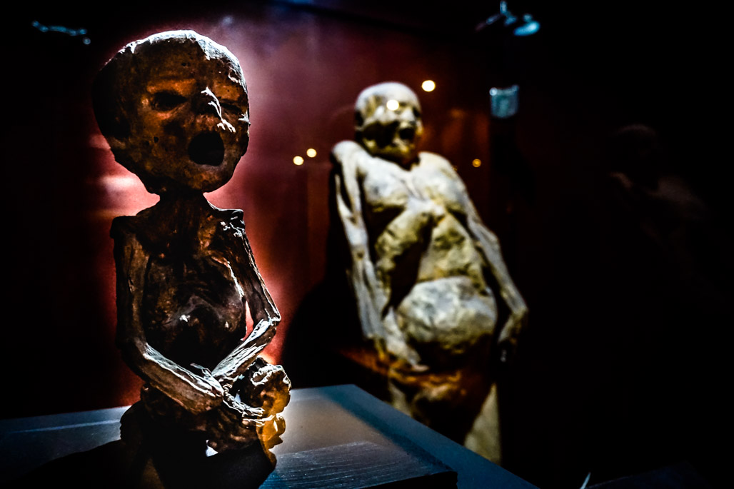 Haunted mummy museum in Guanajuato, Mexico.