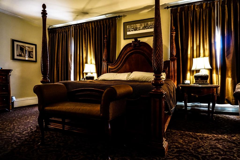 Bed inside Room 217 of the Stanley Hotel in Estes Park Colorado.