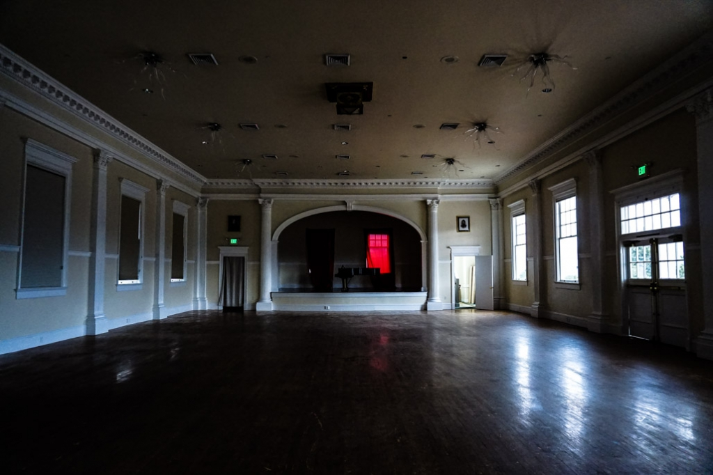 Inside the haunted Concert Hall of the Stanley Hotel.