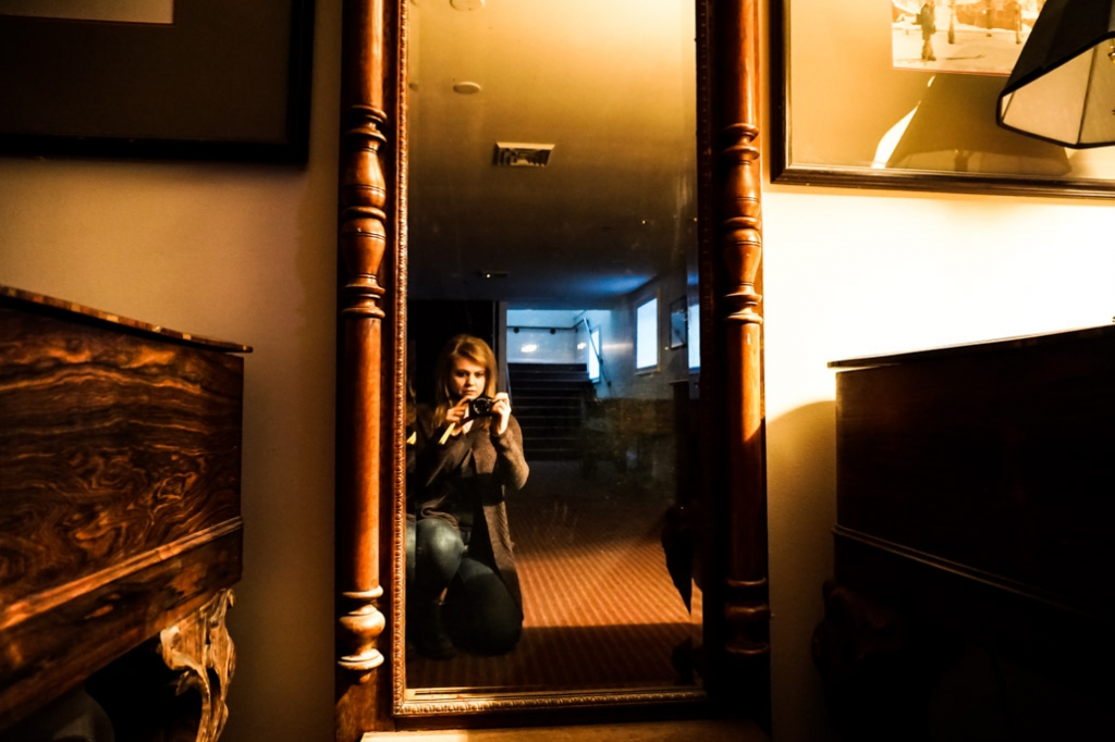 Creepy mirror in the basement of the Concert Hall at the Stanley Hotel.