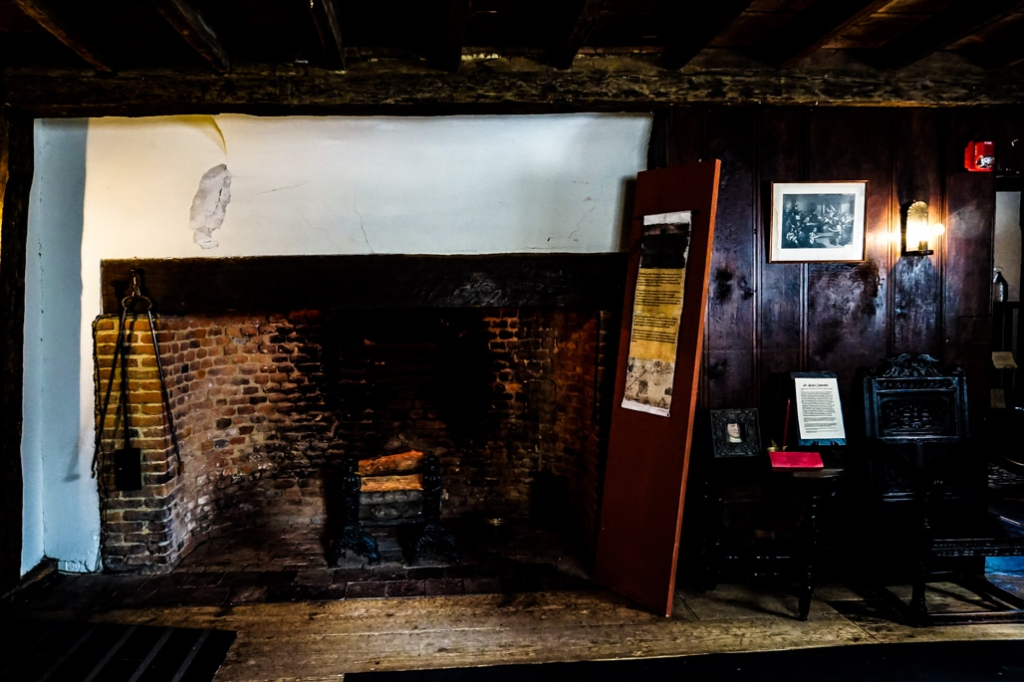 Witch House's fireplace in Salem.