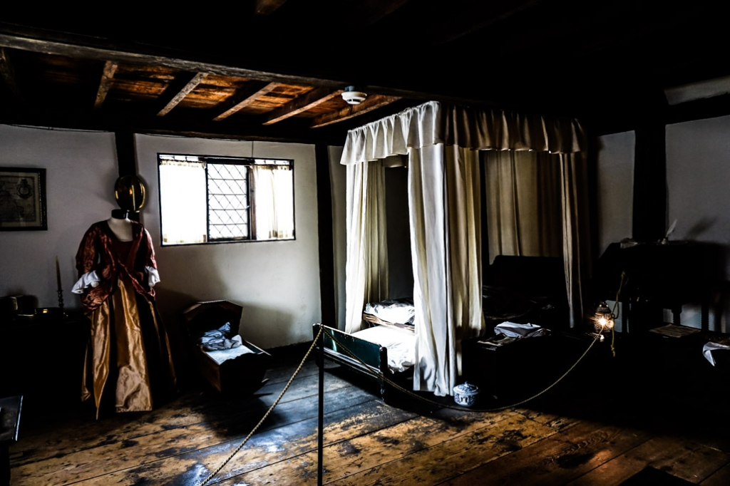 Bedroom inside the Witch House, Salem, Massachusetts.