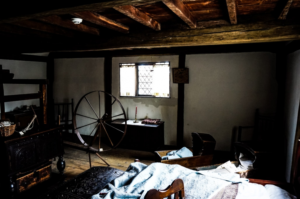 Upstairs inside the Salem Witch House.