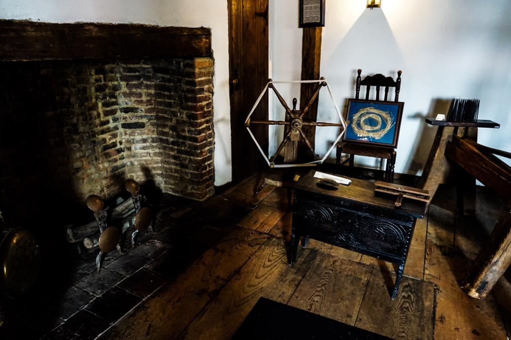 Salem Witch House fireplace.
