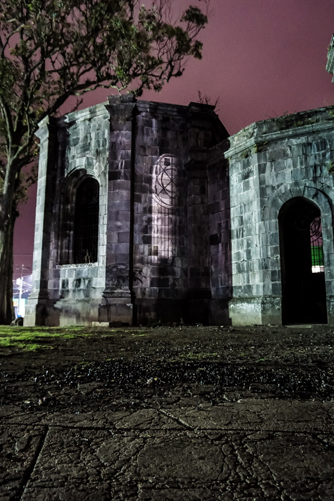 Haunted church ruins in Cartago at night.