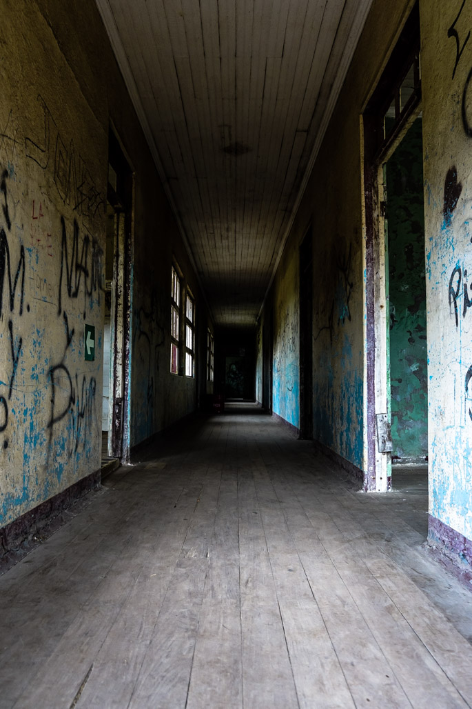 Hallways that are haunted at the Duran Sanatorium, Costa Rica.