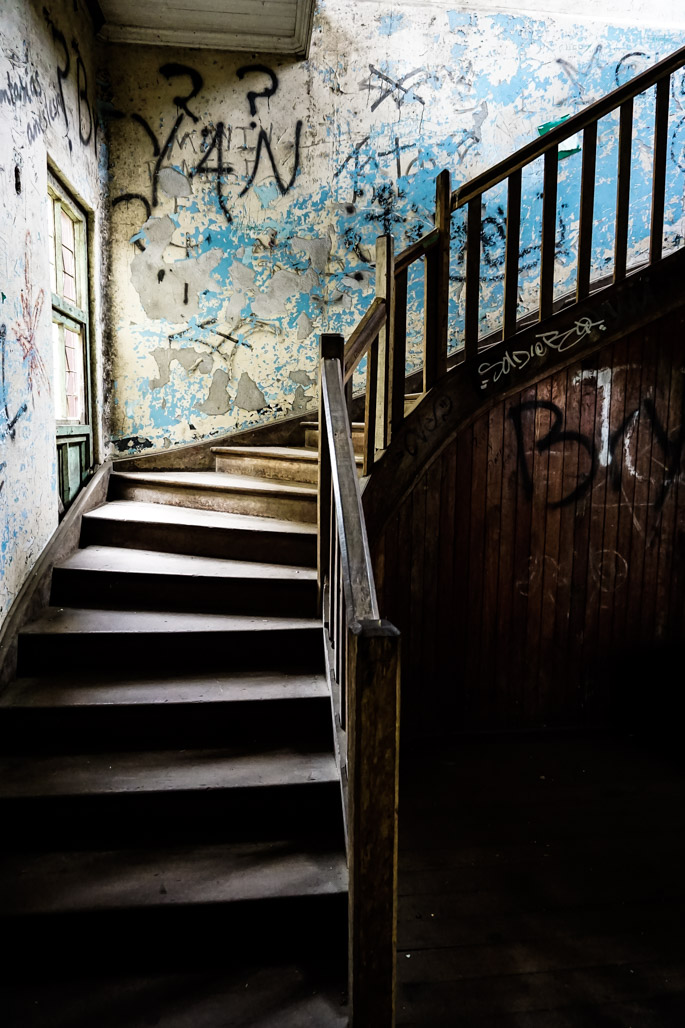 Staircase in the abandoned Duran Sanatorium.