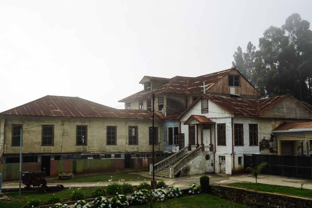 Ghostly fog covered abandoned asylum in Costa Rica.