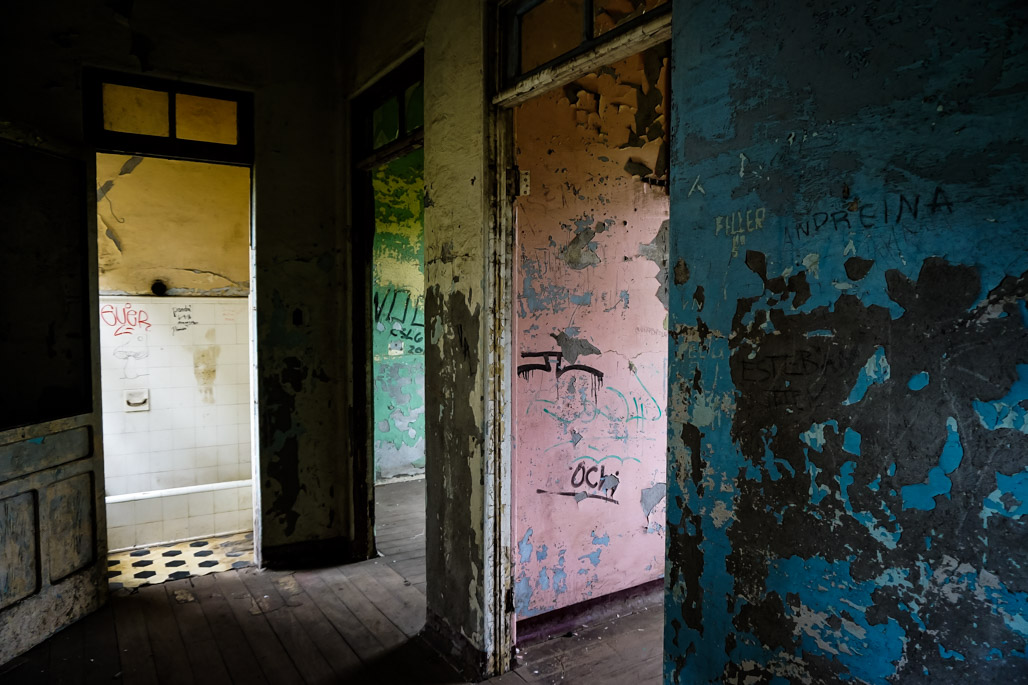 Empty rooms of the abandoned Duran Sanatorium.