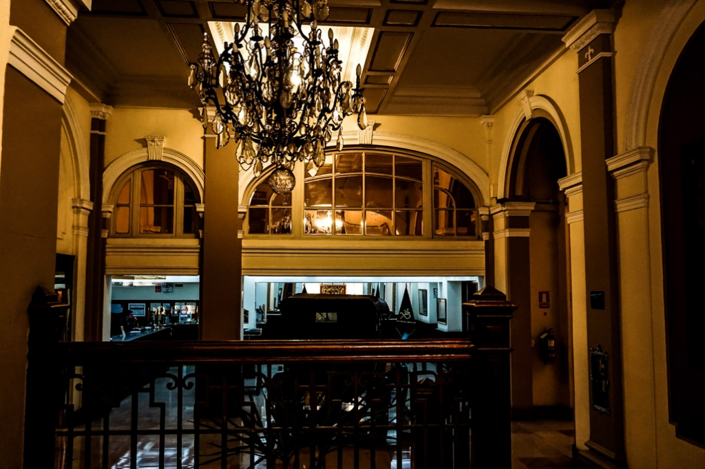 Lobby of the most haunted hotel in Lima, Peru. Gran Bolivar Hotel.