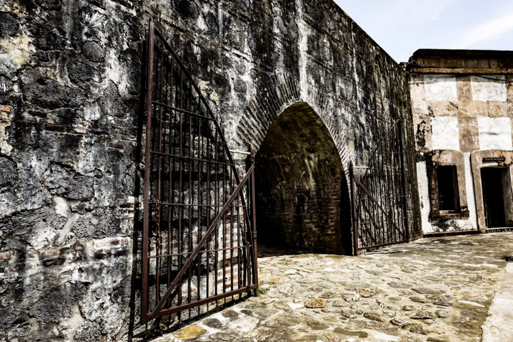 Gate in the haunted Omoa Fort.