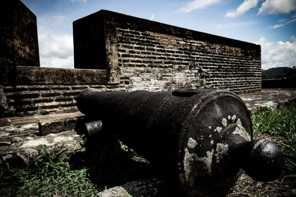 Cannons lining the Omoa Fortress in Honduras.