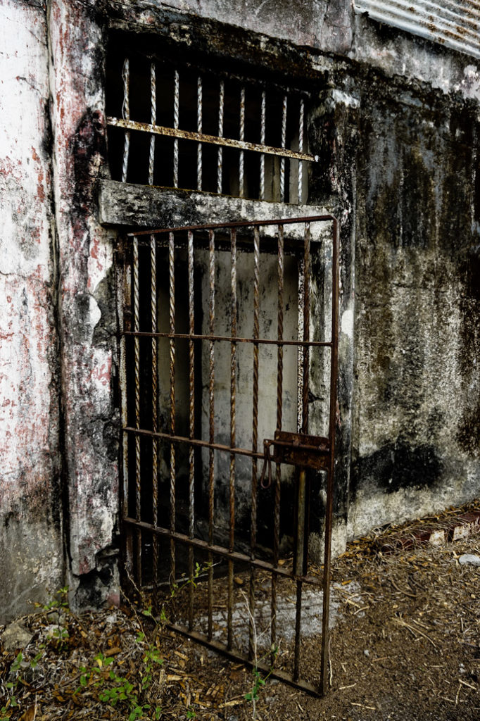 Cell door on abandoned prison island, Costa Rica.