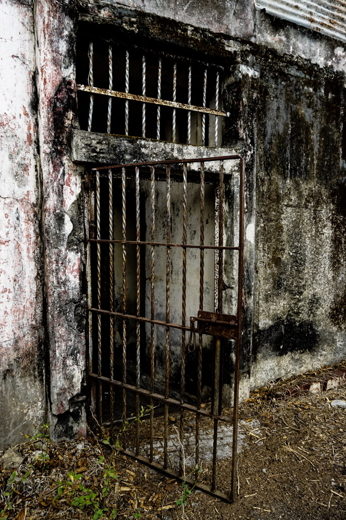 Gates of the haunted abandoned prison island in Costa Rica.