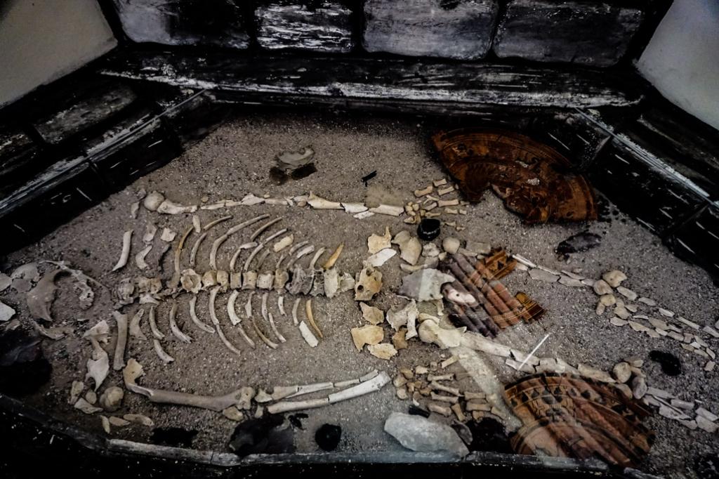 Skeleton at haunted Xunantunich.