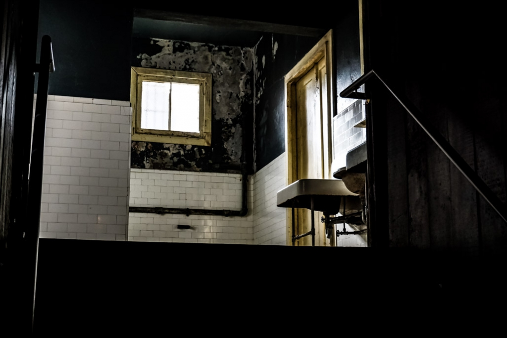 Haunted bathroom of Angel Island immigration station.