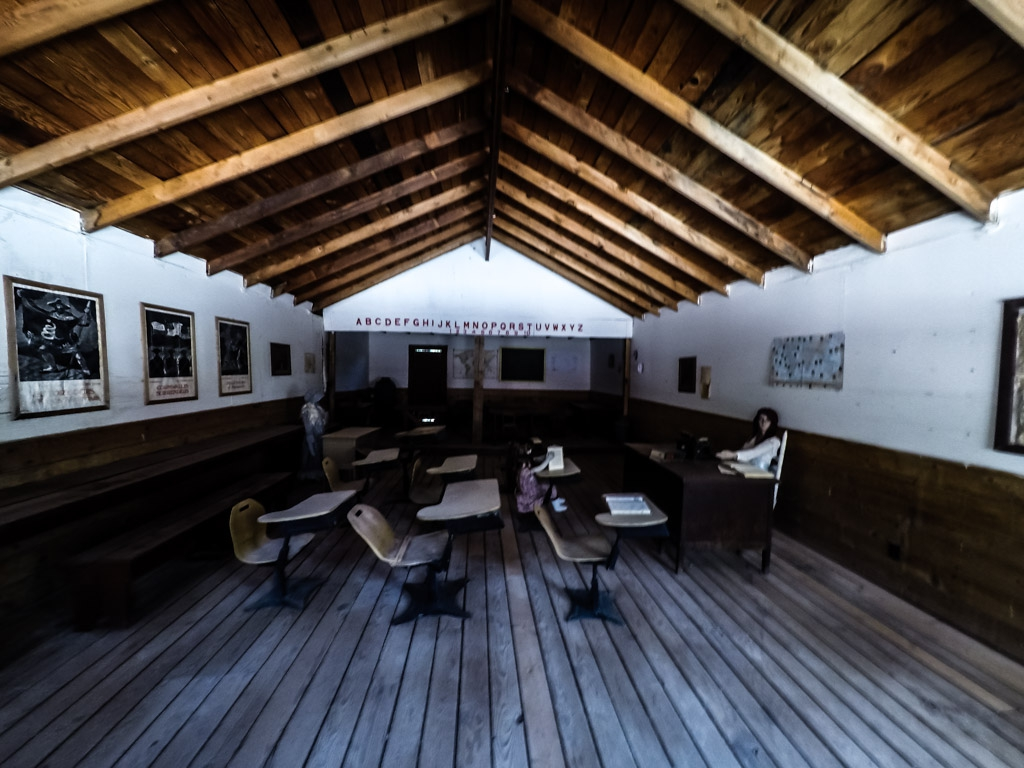 Inside haunted school at Nevada's Bonnie Springs Ranch.