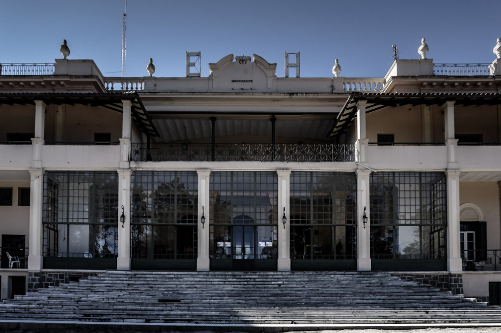 Outside the haunted and abandoned Eden Hotel, Argentina.
