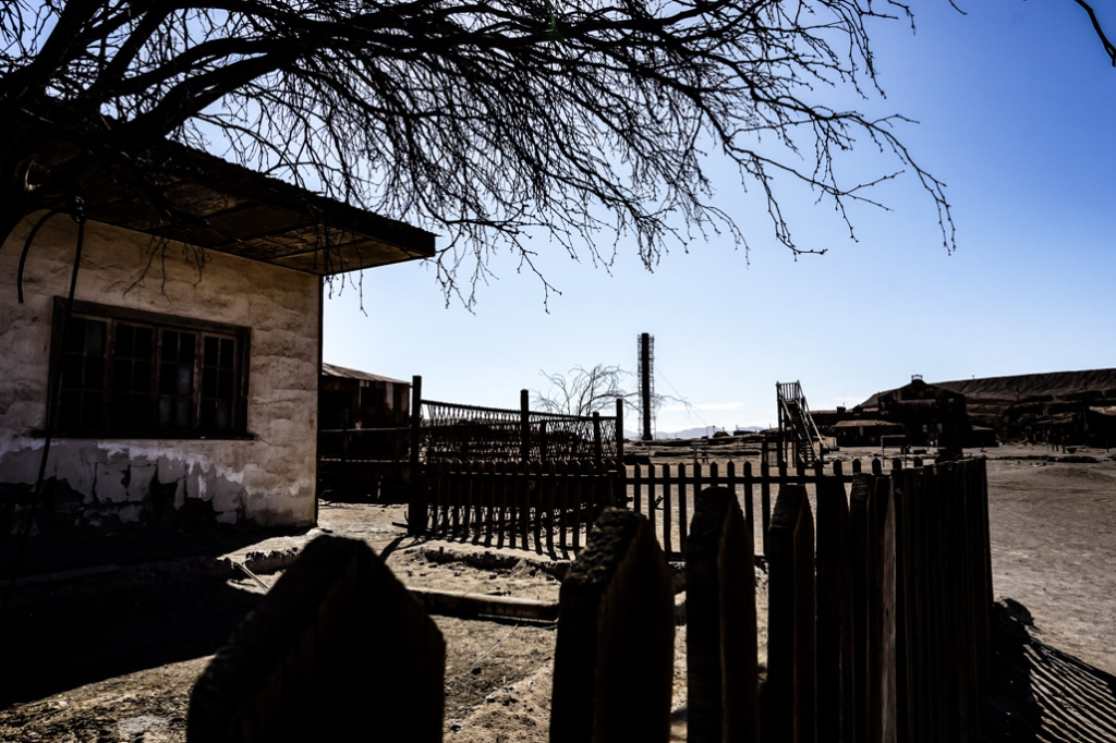 Haunted buildings in Humberstone ghost town, Chile.
